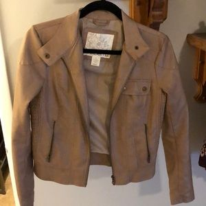 Light brown vegan leather jacket from Arden B